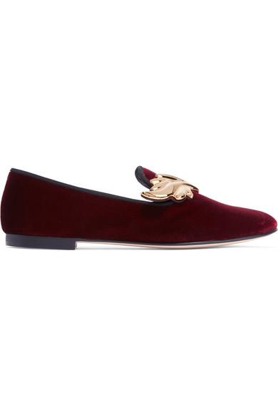 Giuseppe Zanotti - Embellished Velvet Loafers - Burgundy