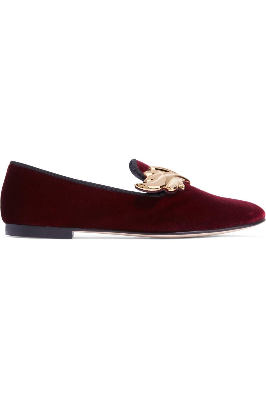 Giuseppe Zanotti Embellished Velvet Loafers, Burgundy, Women's US Size: 8, Size: 38.5