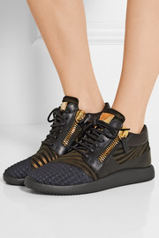 Giuseppe Zanotti Leather, nubuck and faille sneakers