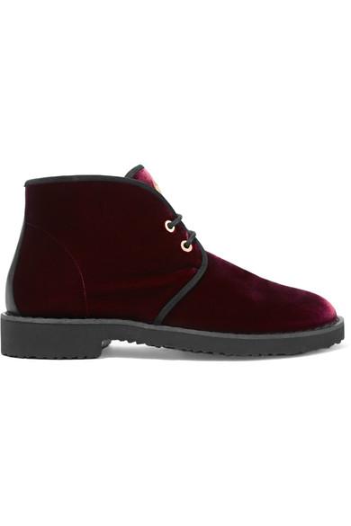 Giuseppe Zanotti - Velvet Ankle Boots - Burgundy