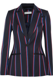 Acacia striped wool and cotton-blend blazer