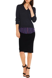 Colbert striped silk-trimmed merino wool sweater
