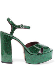 Debbie glittered leather platform sandals