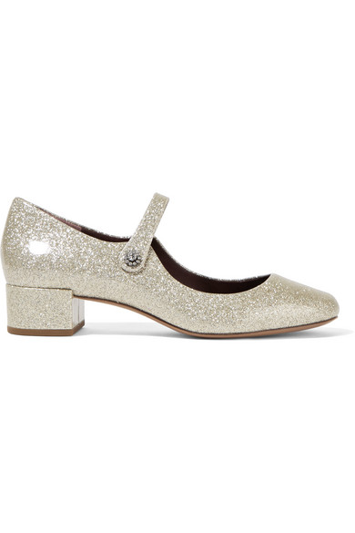 marc jacobs female 45900 marc jacobs lexi glittered patentleather mary jane pumps silver