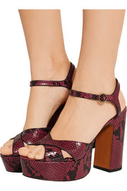 Marc Jacobs Debbie snake-effect leather platform sandals