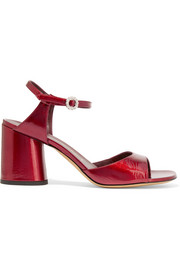 Amelia glossed-leather sandals
