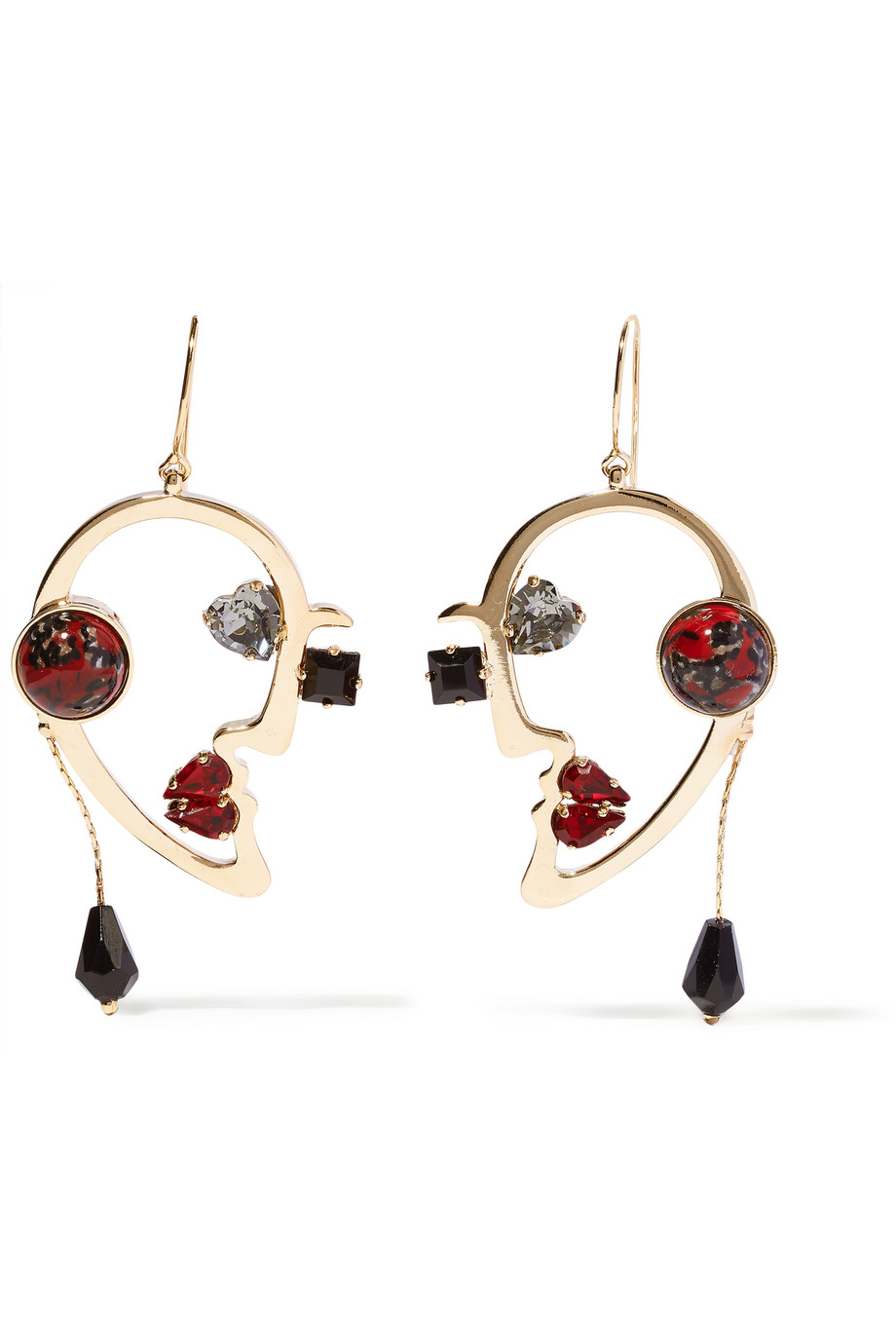 Etro Gold-Plated Multistone Earrings, Gold/Red, Women's