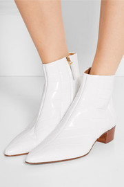 The Row Ambra glossed-alligator ankle boots