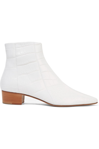 THE ROW AMBRA GLOSSED-ALLIGATOR ANKLE BOOTS, WHITE