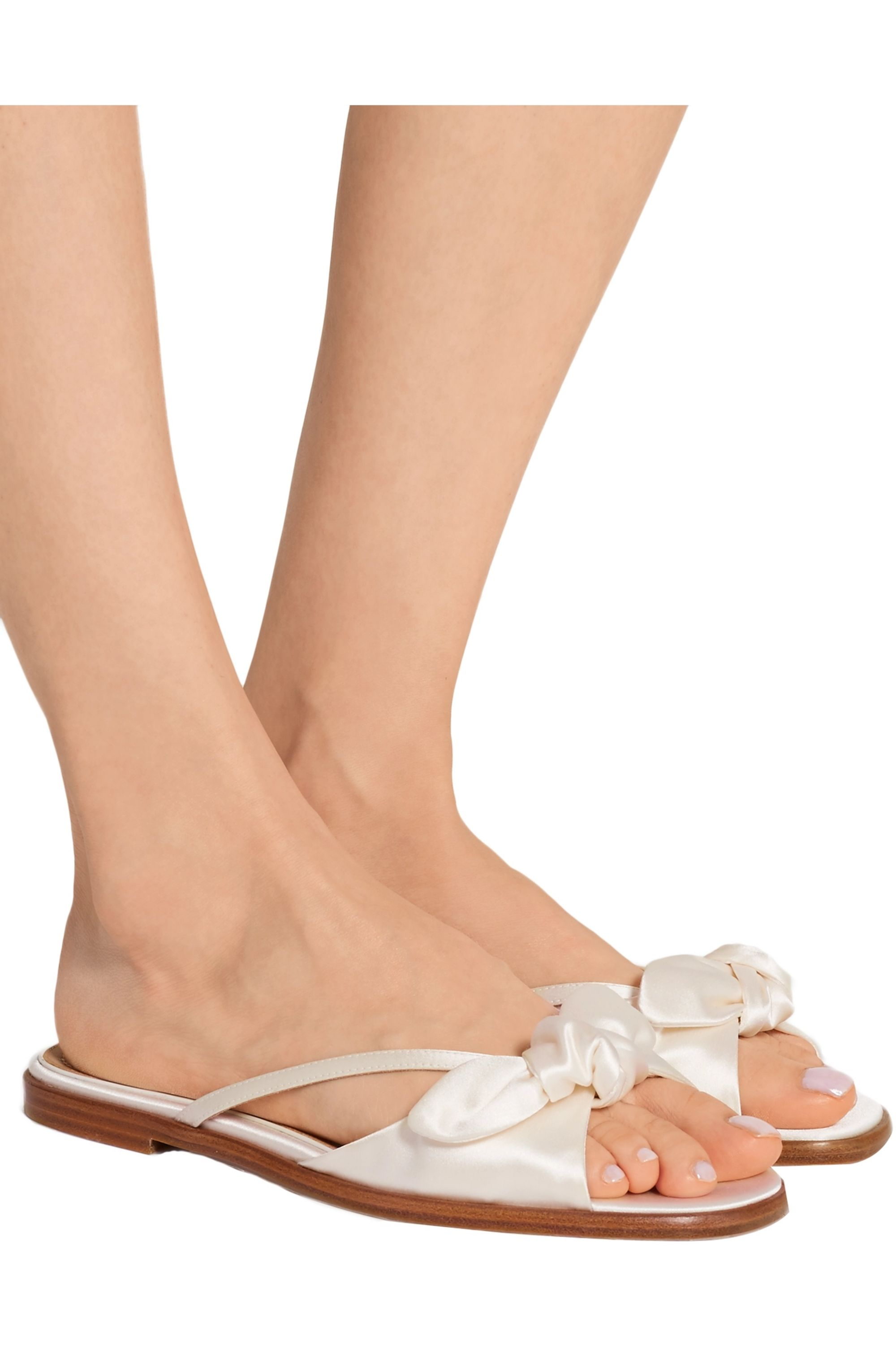 The Row April bow-embellished silk-satin sandals