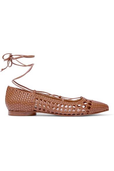michael kors female 263045 michael kors collection kallie woven leather pointtoe flats tan
