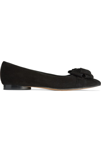 michael kors female 188971 michael kors collection marla bowembellished suede pointtoe flats black