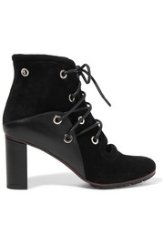 Proenza Schouler Eyelet-embellished suede and leather ankle boots