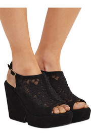 Robert Clergerie Danat embroidered mesh and suede platform wedge sandals