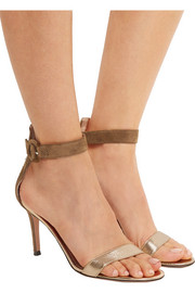 Gianvito Rossi Suede and metallic leather sandals