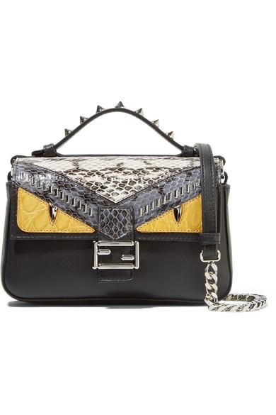 fendi female fendi double baguette micro elaphe and crocodilepaneled leather shoulder bag black