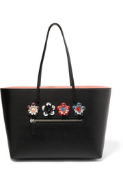 Fendi Roll Top embellished floral-appliquéd textured-leather tote