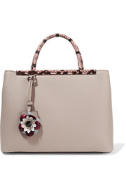 Fendi 2Jours elaphe-trimmed leather shopper