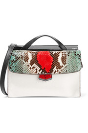 Demi Jour color-block textured-leather and python shoulder bag