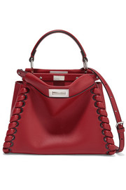 Fendi Peekaboo small whipstitched leather tote