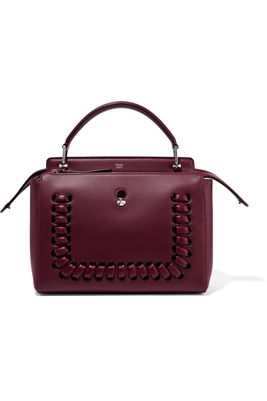 Fendi Dotcom Whipstiched Leather Tote, Burgundy, Women's