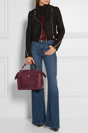 Fendi DotCom whipstiched leather shoulder bag