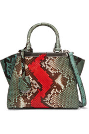 Fendi 3Jours small python and leather tote