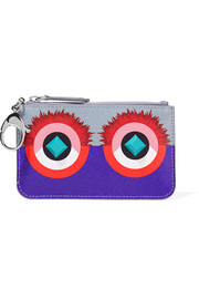 Fendi Embellished printed textured-leather keychain