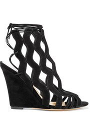 Loretta cutout suede wedge sandals