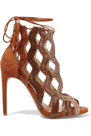 Loretta cutout watersnake and suede sandals