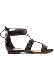 Alexandre Birman Brenda lace-up crocodile sandals