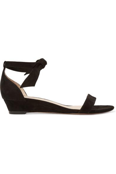 alexandre birman female alexandre birman atena bowembellished suede wedge sandals black