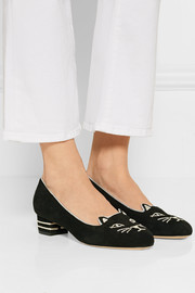 Charlotte Olympia Kitty embroidered suede pumps
