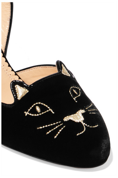9d38001ade18 Charlotte Olympia. Kitty embroidered patent-leather trimmed velvet slingback  pumps. £297. Zoom In