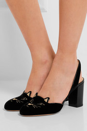 Charlotte Olympia Kitty embroidered patent-leather trimmed velvet slingback pumps