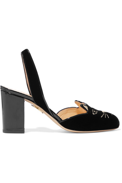 Kitty Embroidered Patent-leather Trimmed Velvet Slingback Pumps - Black Charlotte Olympia zk7OFYvQFg
