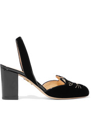 Kitty embroidered patent-leather trimmed velvet slingback pumps