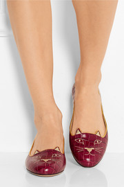Charlotte Olympia Kitty embroidered croc-effect leather slippers