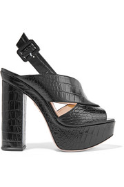 Charlotte Olympia Electra croc-effect leather platform sandals