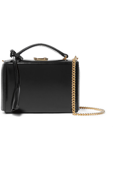 Grace Small Glossed-Leather Shoulder Bag in Black