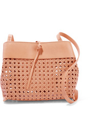 Tie woven leather shoulder bag