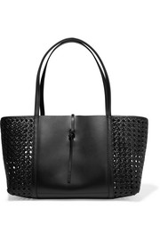 Tie woven leather tote