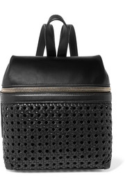 Small woven leather backpack
