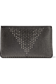 Loubiposh spiked textured-leather clutch