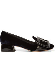 Miu Miu Buckled patent-leather and velvet pumps
