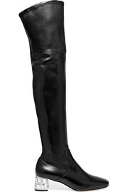 Miu Miu Crystal-embellished leather over-the-knee boots