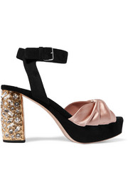 Miu Miu Crystal-embellished satin and suede platform sandals