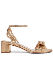Miu Miu Metallic textured-leather sandals