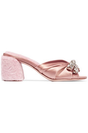 Miu Miu Crystal-embellished satin and shearling mules