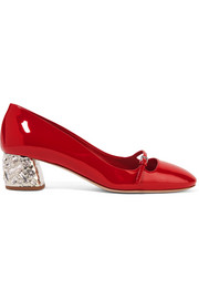 Miu Miu Crystal-embellished patent-leather Mary Jane pumps